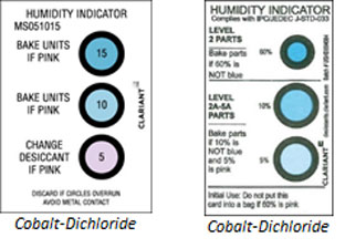 Cobalt Dichloride humidity Indicator cards